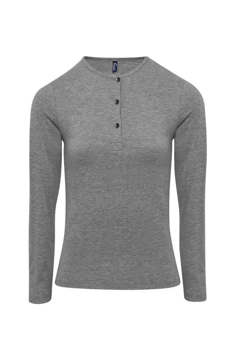 Ladies Long John Roll-Sleeve Tee - Marl Grey - 3