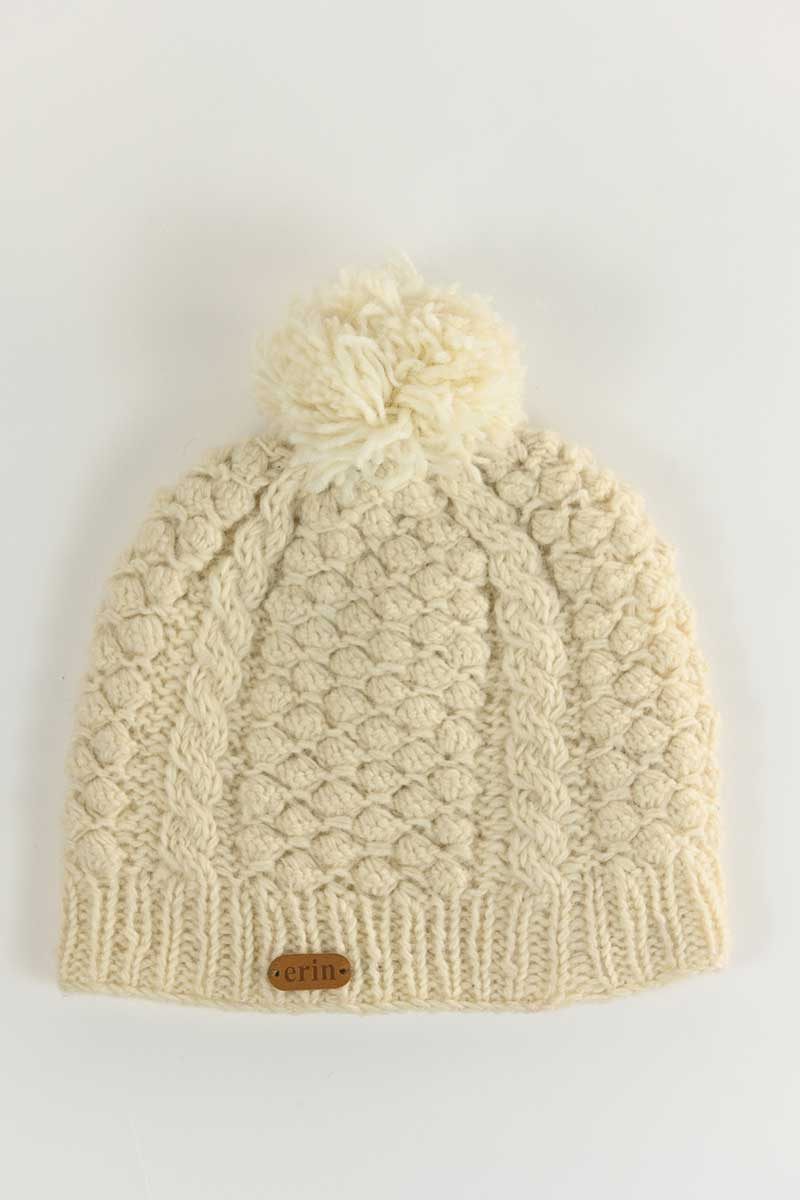 irish wool bobble hat - cream