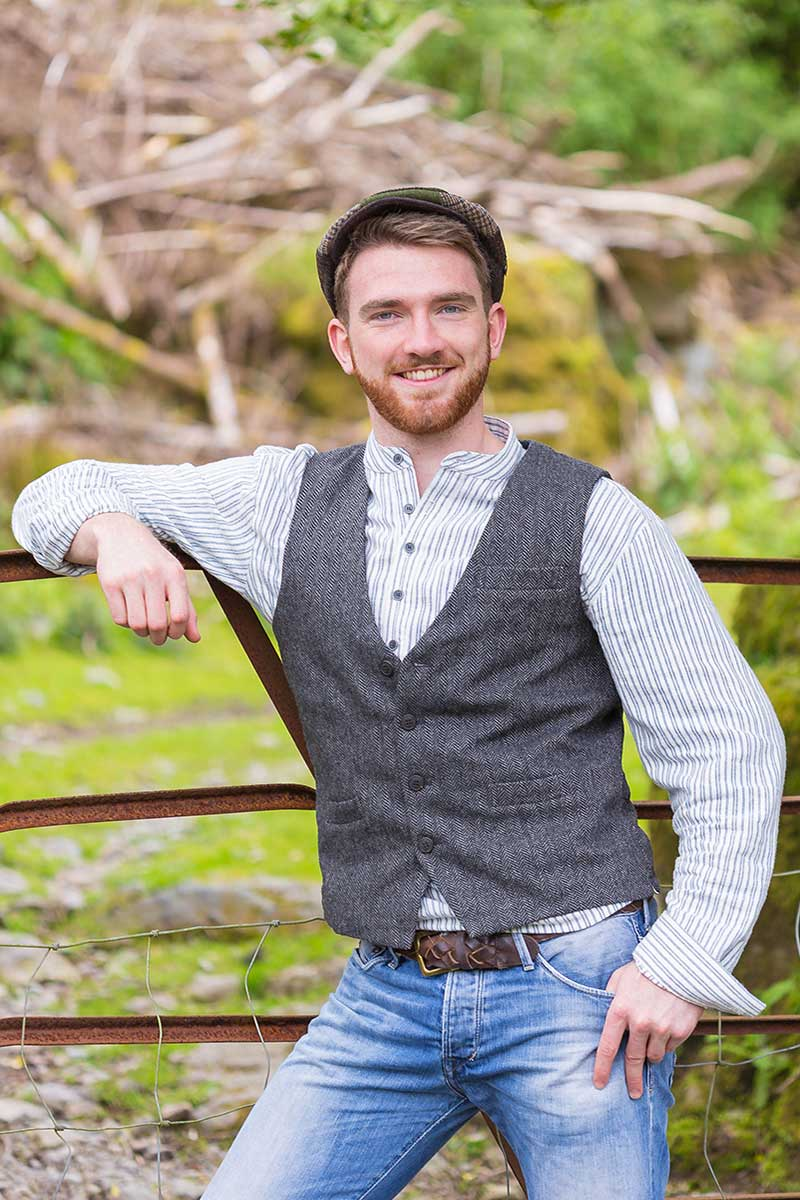 Irish Wool Tweed Vest - Durrow Grey Herringbone Tweed Vest Lee Valley Ireland