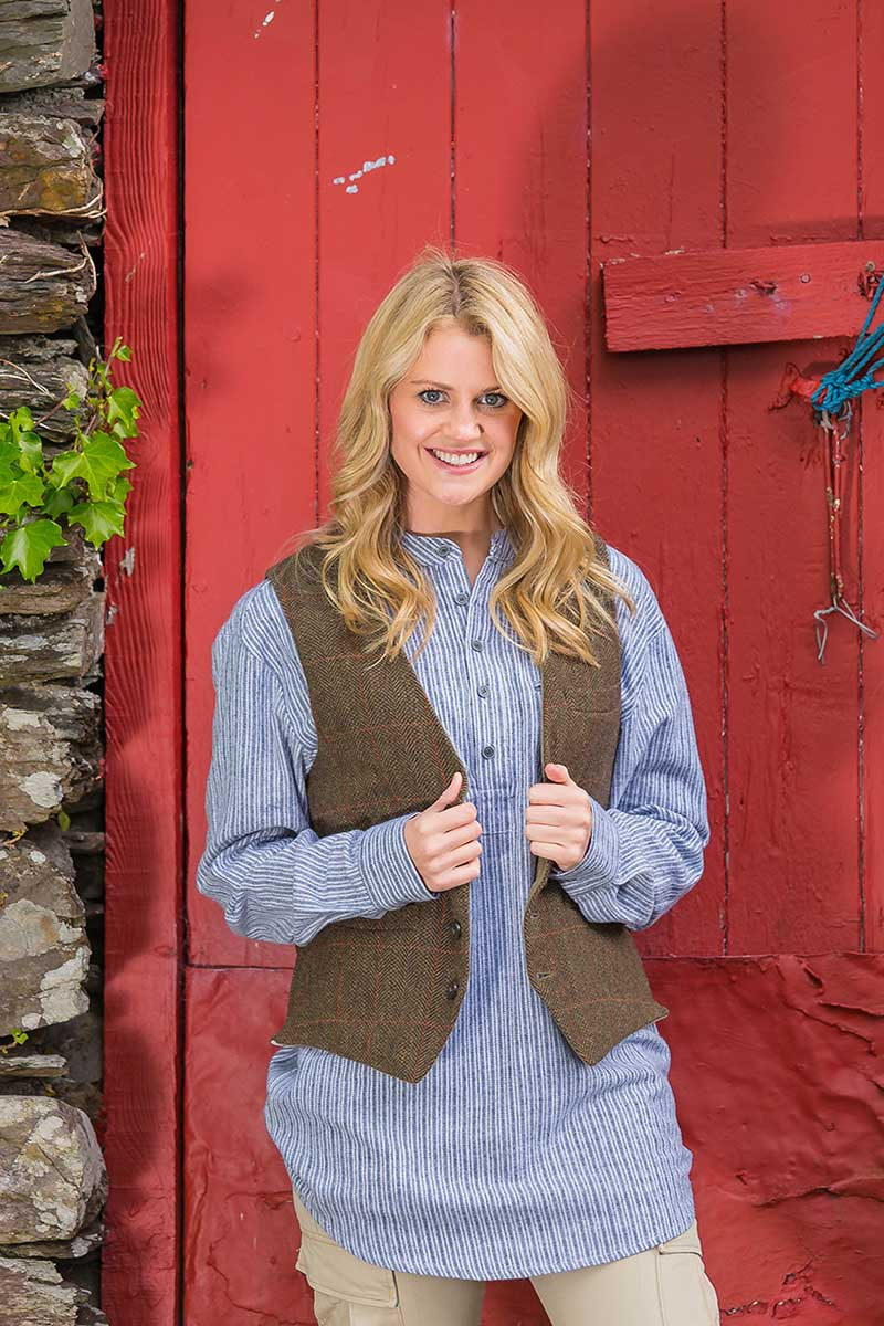 Irish Womens Wool Tweed Vest - Durrow Moss Check Tweed Vest Lee Valley Ireland