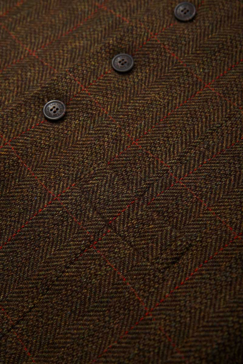 Irish Wool Tweed Vest - Durrow Moss Check - Lee Valley Ireland - 4