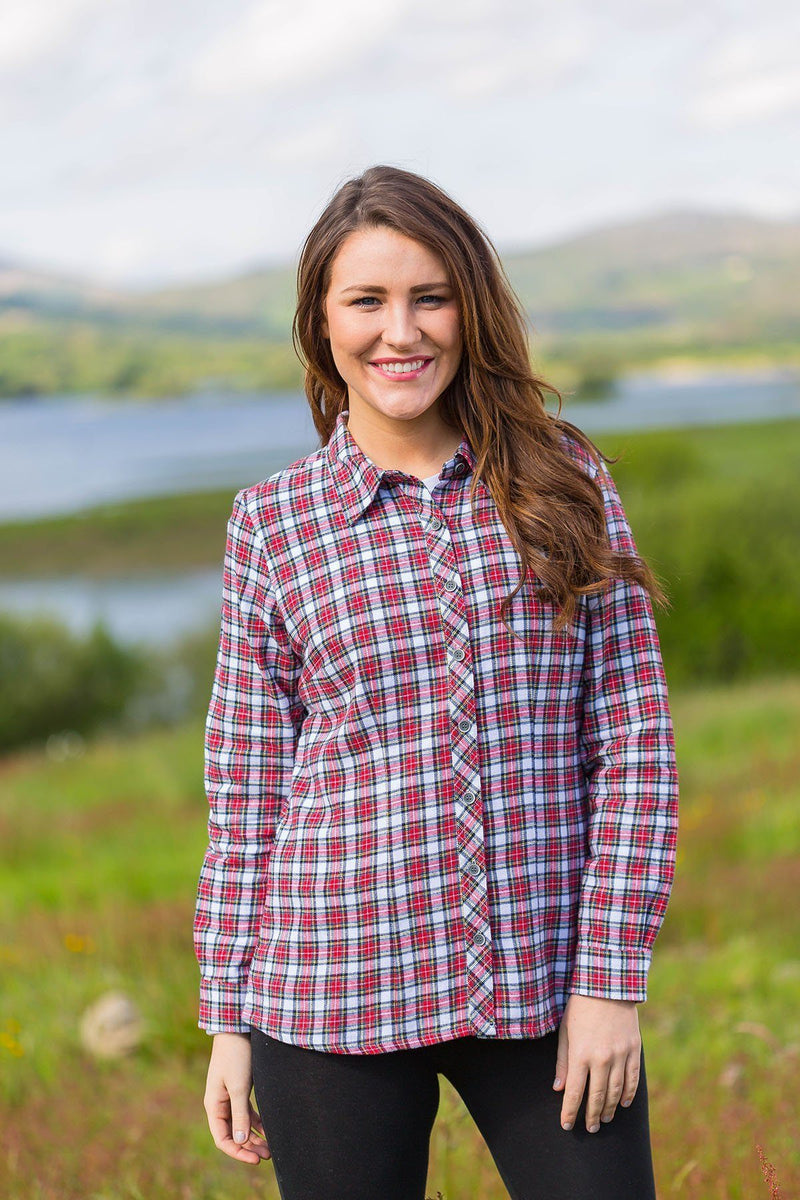 Collar Shirt Eskra Ladies Cotton Flannel Red/White Check (LV4) Collar Shirt Lee Valley Ireland