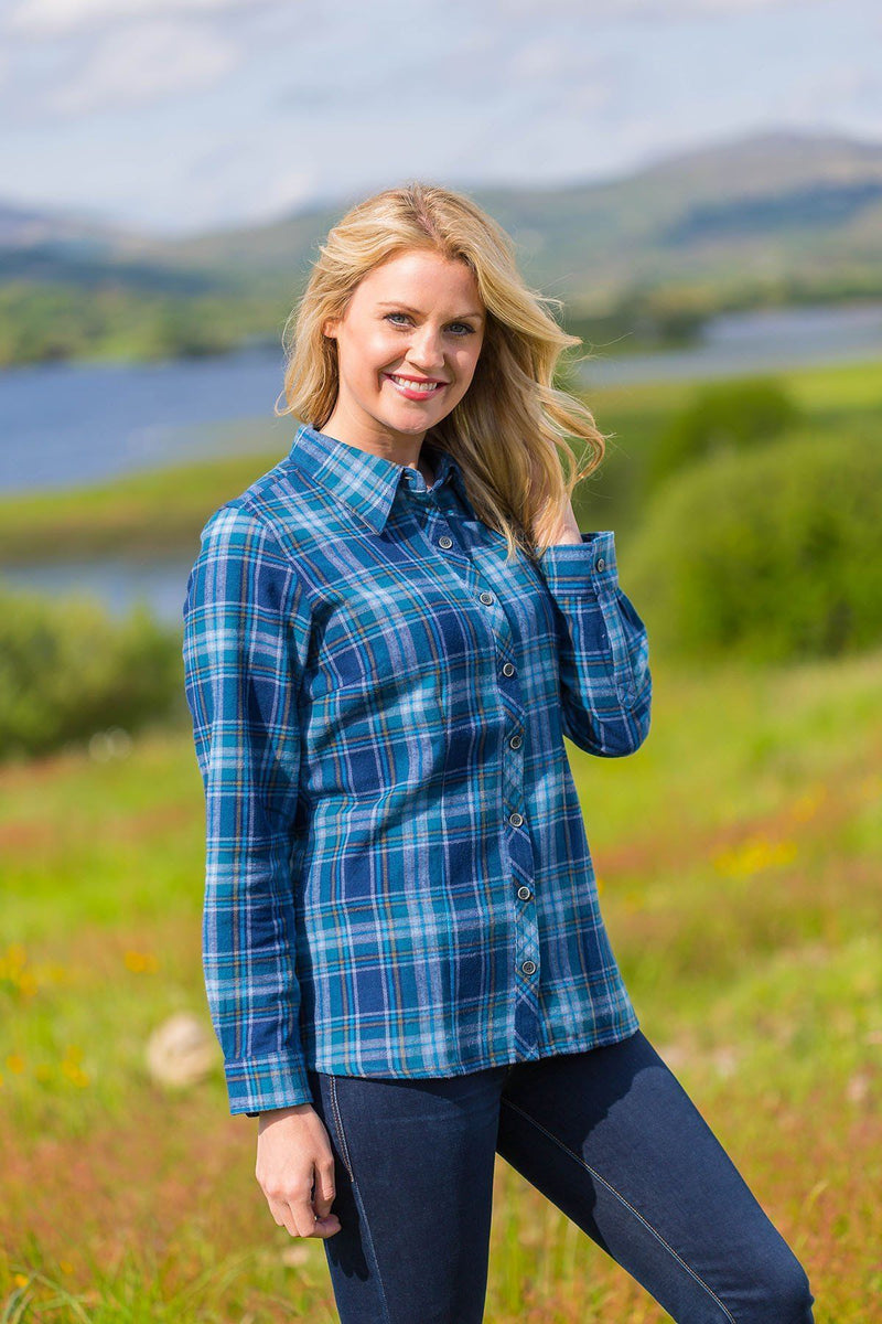 Collar Shirt Eskra Ladies Cotton Flannel Blue Check (LV8) - Lee Valley Ireland - 1