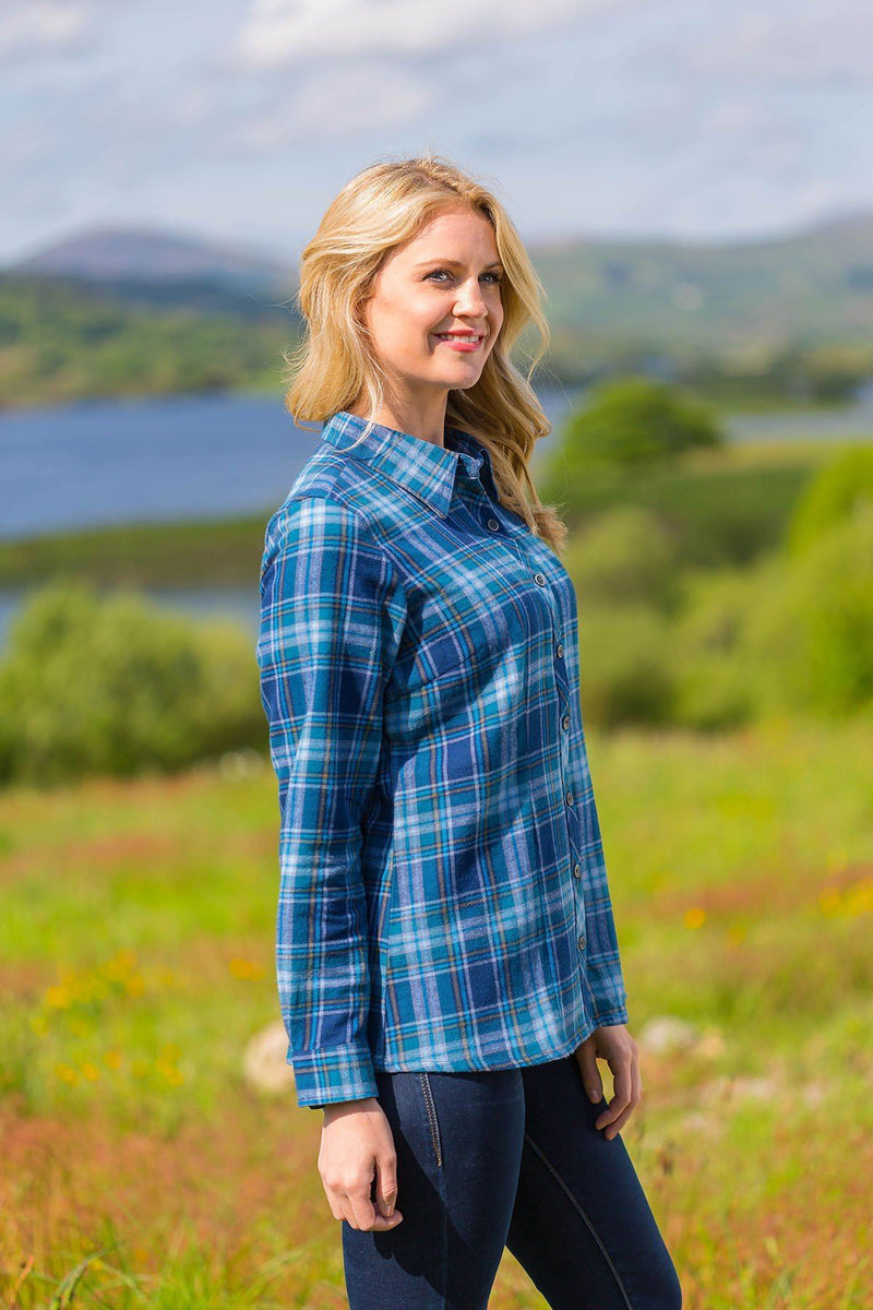 Collar Shirt Eskra Ladies Cotton Flannel Blue Check (LV8) - Lee Valley Ireland - 3