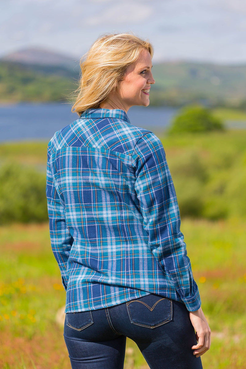 Collar Shirt Eskra Ladies Cotton Flannel Blue Check (LV8) - Lee Valley Ireland - 2