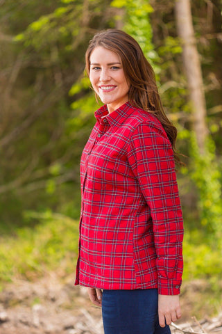Collar Shirts Eskra Fleece Lined Flannel Ladies Red Tartan - Royal Stewart (LV27) - Lee Valley Ireland - 1