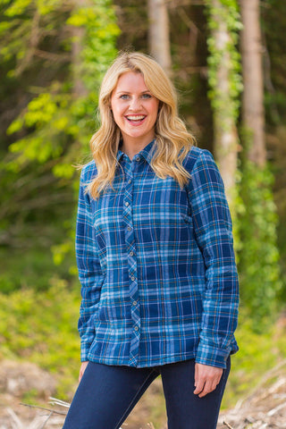 Collar Shirts Eskra Fleece Lined Flannel Ladies Blue Tartan (LV8) - Lee Valley Ireland - 1