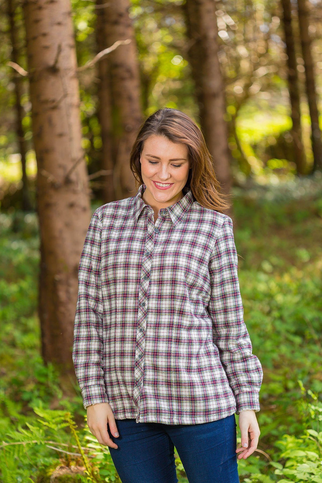 Collar Shirts Eskra Fleece Lined Flannel Ladies Maroon Check (LV7) - Lee Valley Ireland - 3