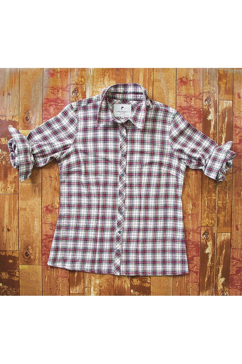 Collar Shirt Eskra Ladies Cotton Flannel Maroon Check (LV7) - Lee Valley Ireland - 5