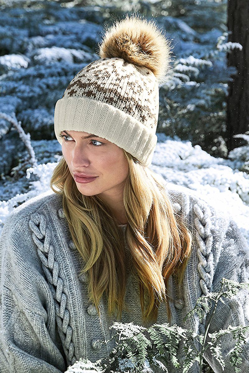 Fair Isle Luxury Faux Fur Pom Pom Beanie (BC411)
