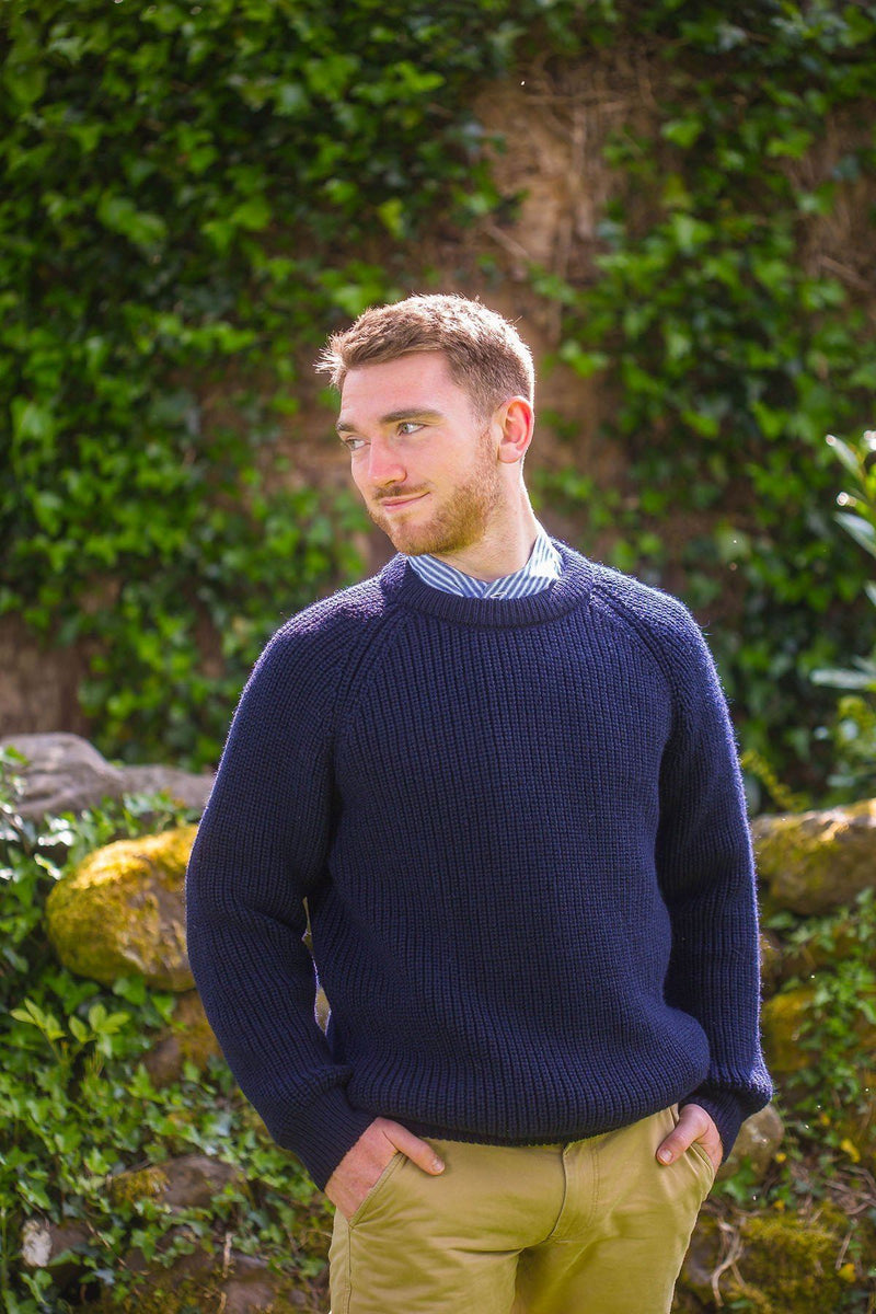 Fisherman Rib Wool Sweater - Navy (C761) Knitwear Westend