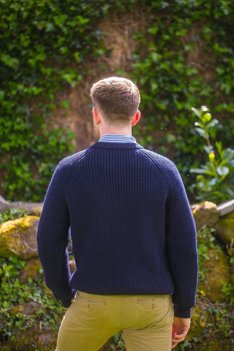 Fisherman Rib Wool Sweater - Navy (C761) - Lee Valley Ireland - 2