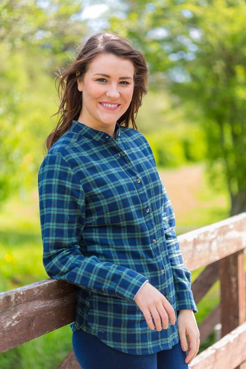 Grandfather Shirt Ladies Flannel Green Tartan-Blackwatch (LV6) Grandad Shirts Lee Valley Ireland
