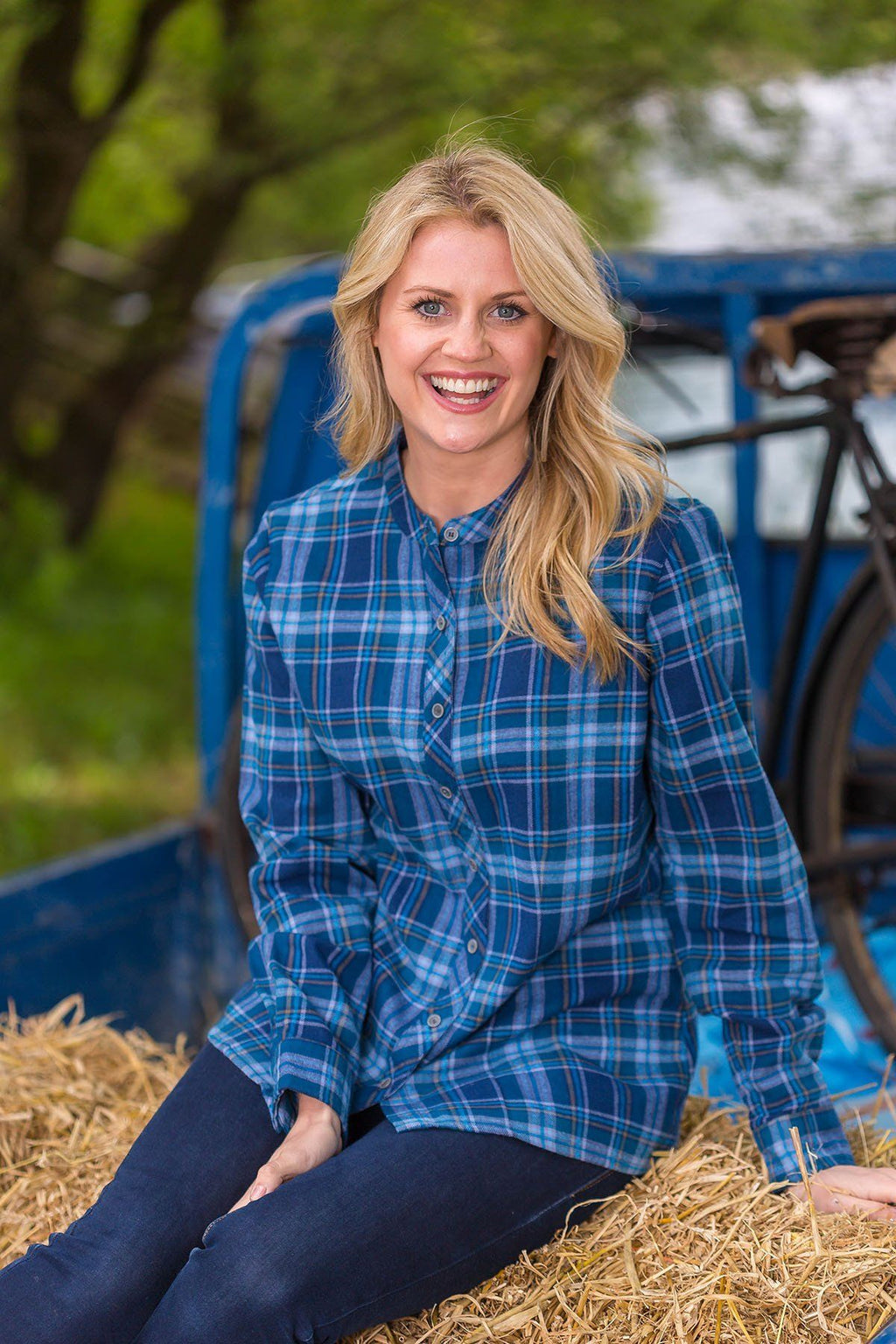 Grandfather Shirt Ladies Flannel Blue Check- (LV8) - Lee Valley Ireland - 1