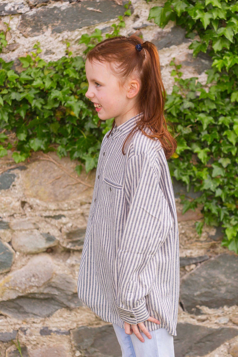 Kid's Grandad Shirt LVC Dark Blue/Cream Stripe - Lee Valley Ireland - 2