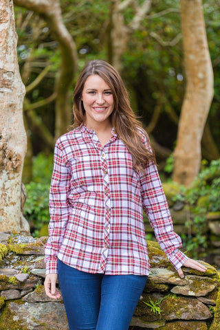Grandad Shirt Cotton Ladies - Tramore - Red Dress Stewart Tartan - Lee Valley Ireland - 1