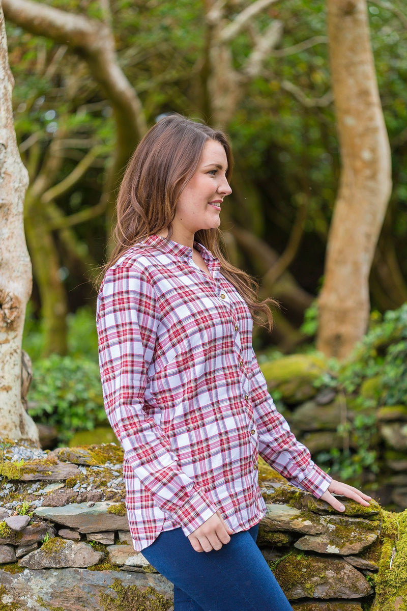 Grandad Shirt Cotton Ladies - Tramore - Red Dress Stewart Tartan - Lee Valley Ireland - 3