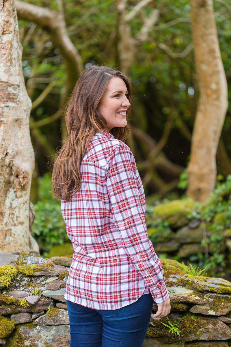 Grandad Shirt Cotton Ladies - Tramore - Red Dress Stewart Tartan - Lee Valley Ireland - 2