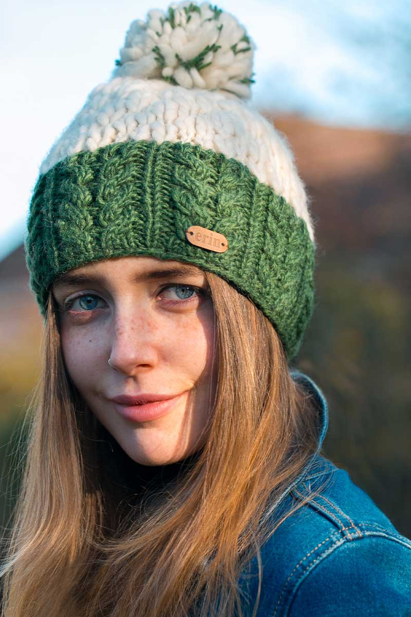 Erin Irish Wool Bobble Hat- Green/White Caps Erin Knitwear