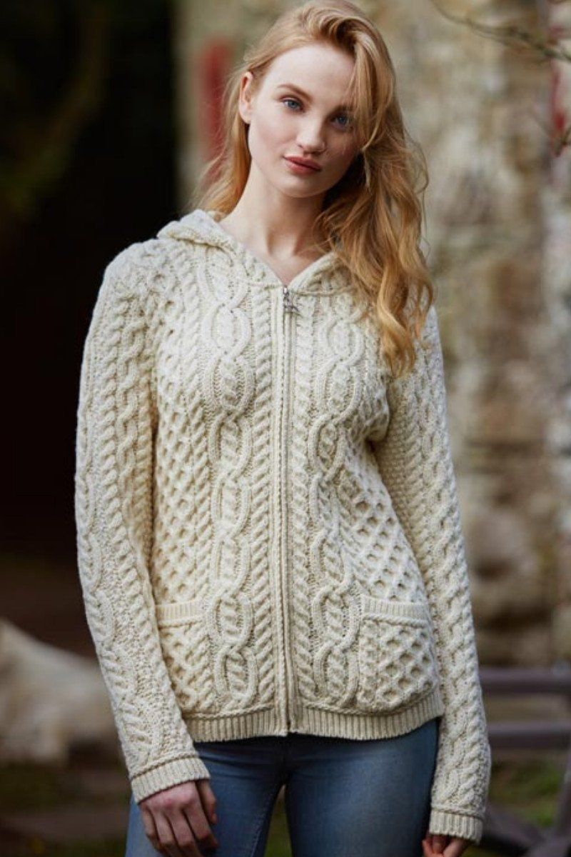 Hooded Cardigan Ladies (HD4706) - Natural - Lee Valley Ireland - 1