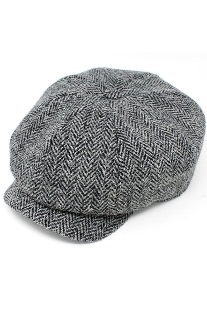 Hanna Hats Newsboy Tweed Cap - Grey Herringbone - Lee Valley Ireland - 1