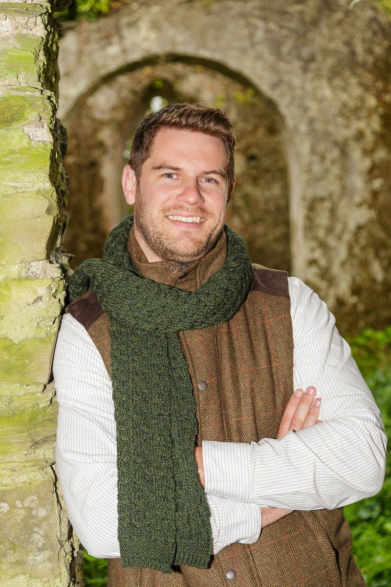 Cobh Wool Scarf - Pine Green - Lee Valley Ireland - 1
