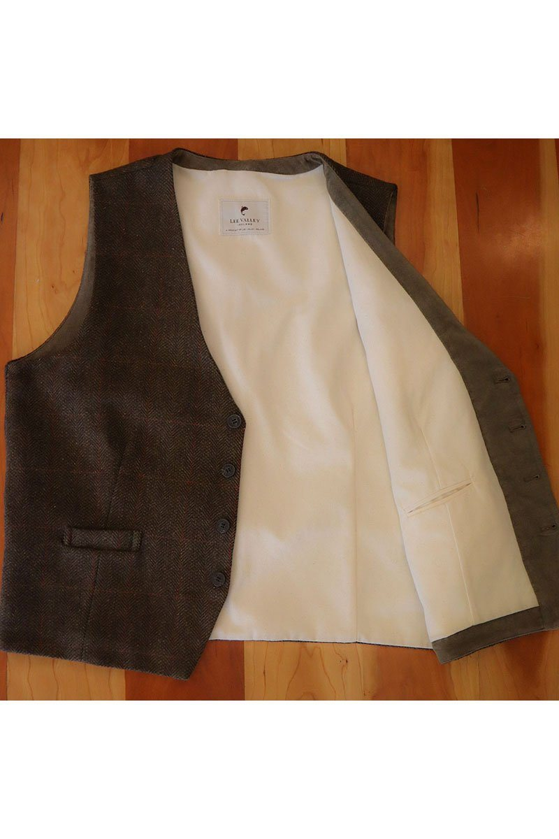 Irish Wool Tweed Vest - Durrow Moss Check - Lee Valley Ireland - 6