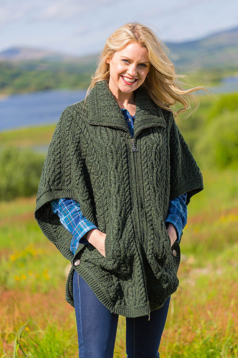 Woollen Cape Inisheer - Forest Green (x4368) - Lee Valley Ireland - 3