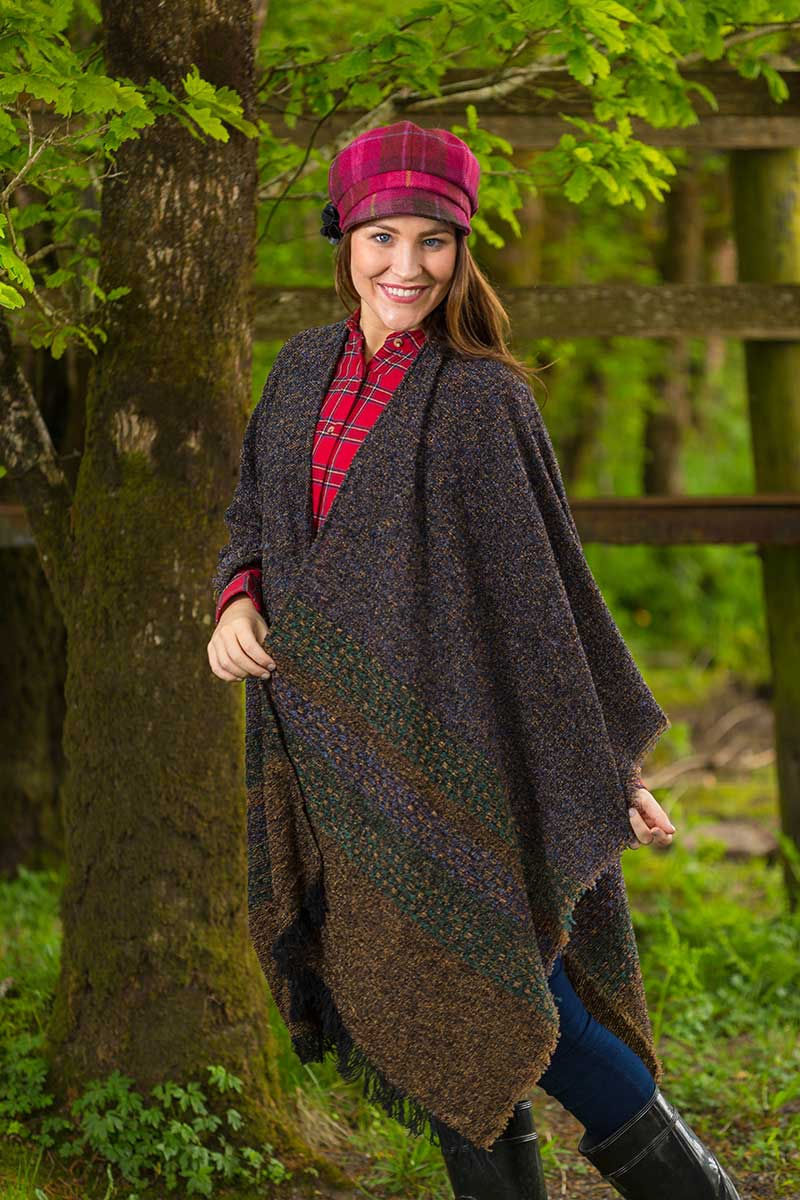 Celtic Wool Shawl - Turf Brown Knitwear Lee Valley Ireland
