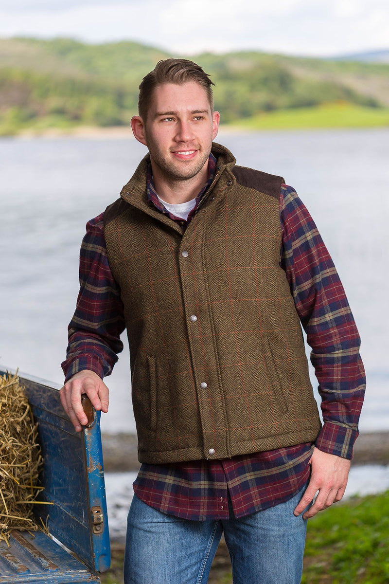 Kerry Irish Tweed Gilet - Moss Check Tweed Vest Lee Valley Ireland