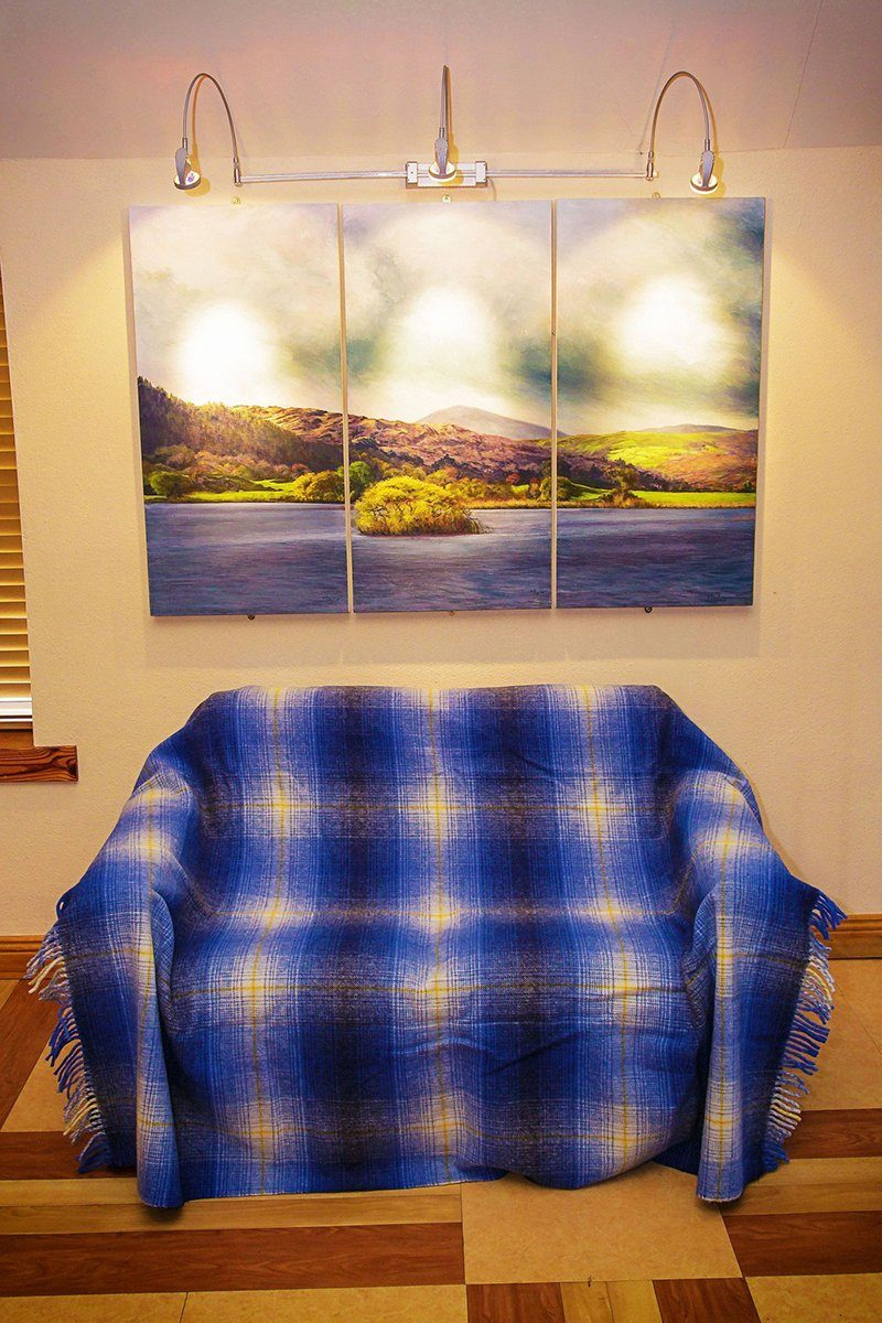Kerry Travel Wool Rug - Shaddow Blue Check - Lee Valley Ireland