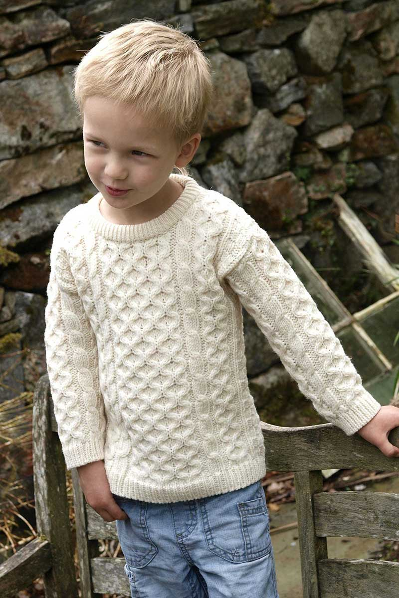 Kids Crew Neck Irish Aran Sweater - Natural - C311 Knitwear Westend