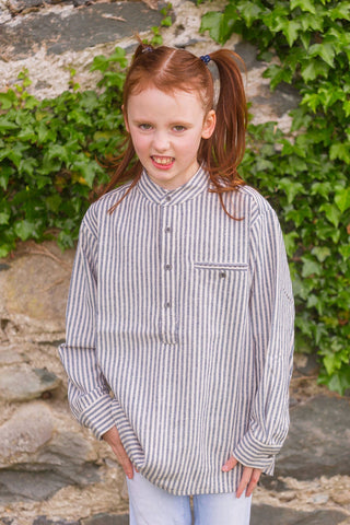 Kid's Grandad Shirt LVC Dark Blue/Cream Stripe - Lee Valley Ireland - 1