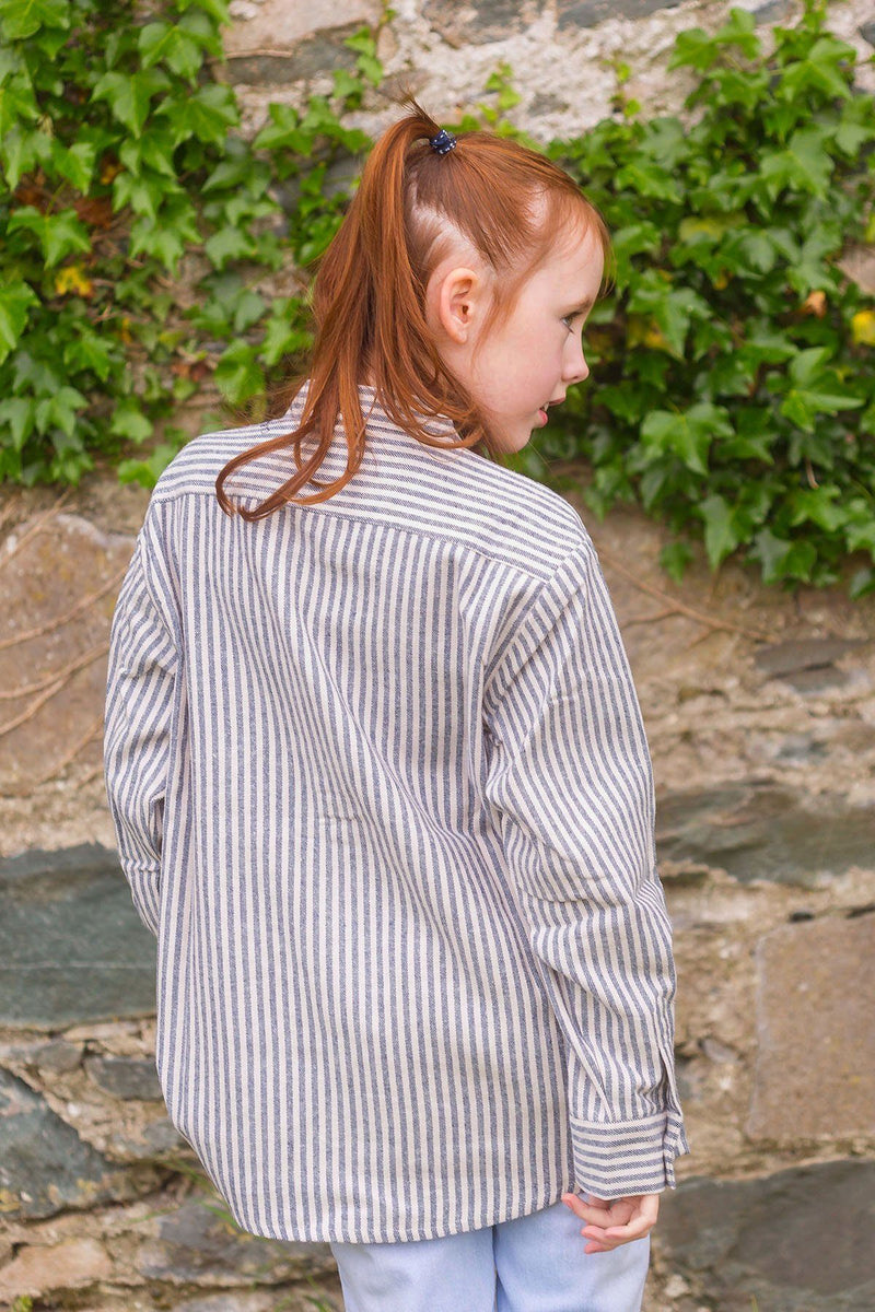 Kid's Grandad Shirt LVC Dark Blue/Cream Stripe - Lee Valley Ireland - 3