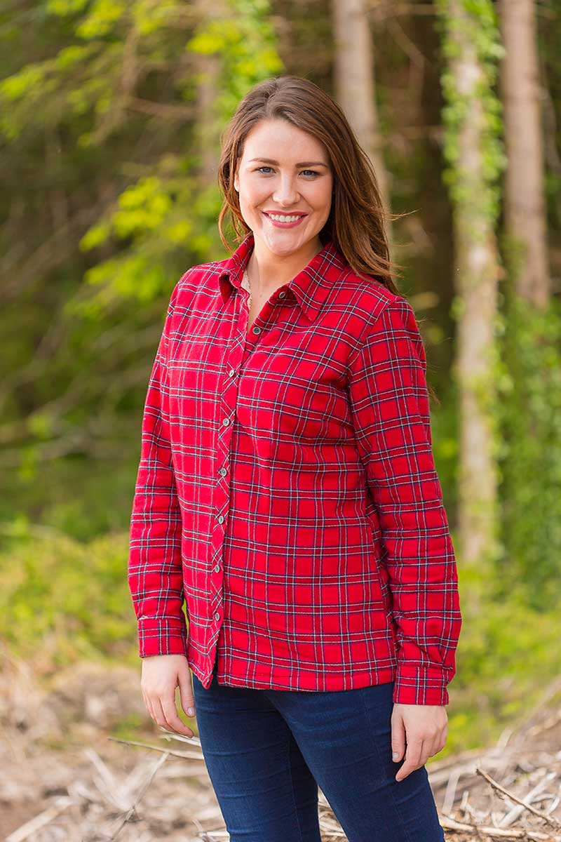 Collar Shirts Eskra Fleece Lined Flannel Ladies Red Tartan - Royal Stewart (LV27) Collar Shirt Lee Valley Ireland