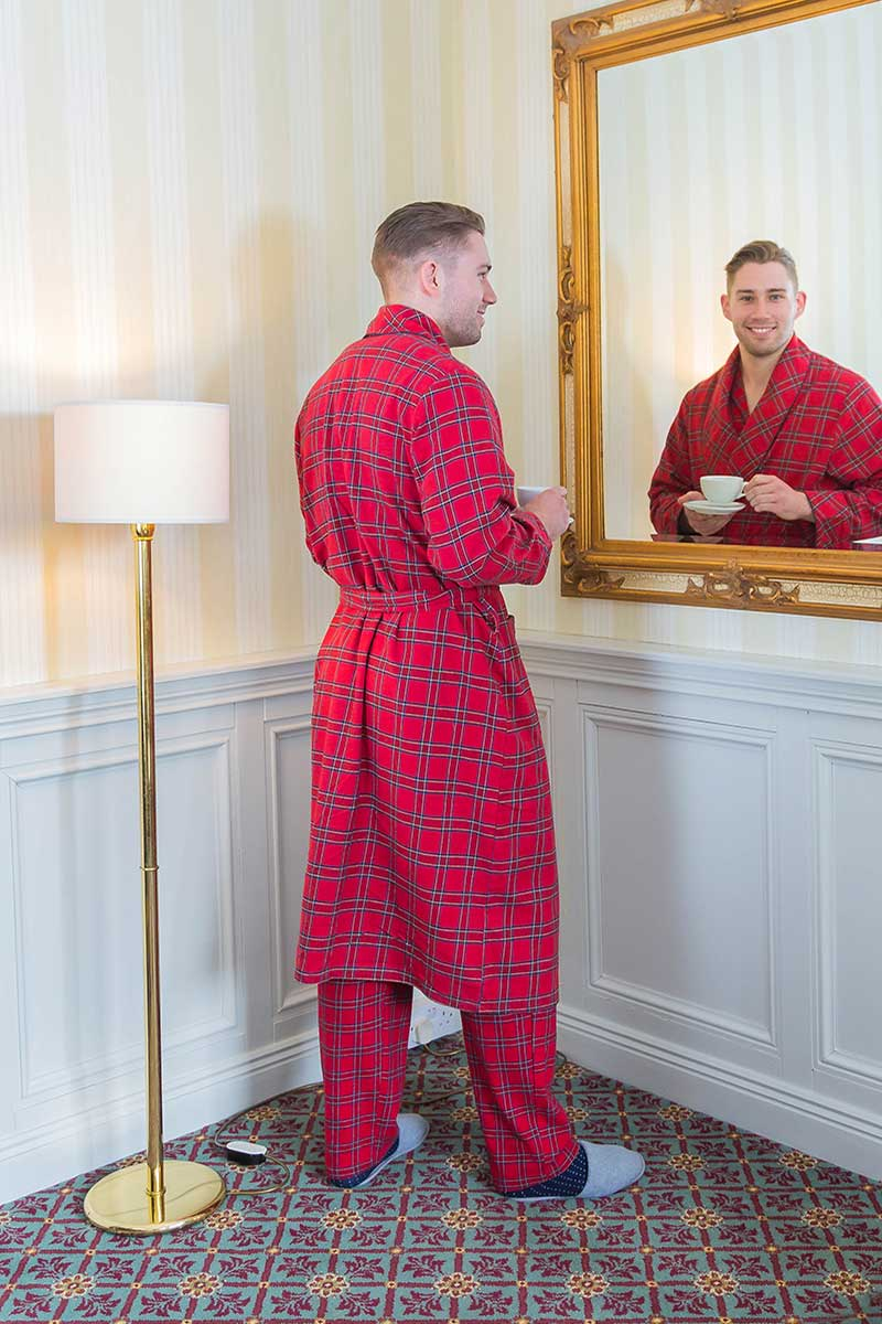 Nightrobe Mens Cotton Flannelette - Red Tartan Royal Stewart (LV27) - Lee Valley Ireland - 3