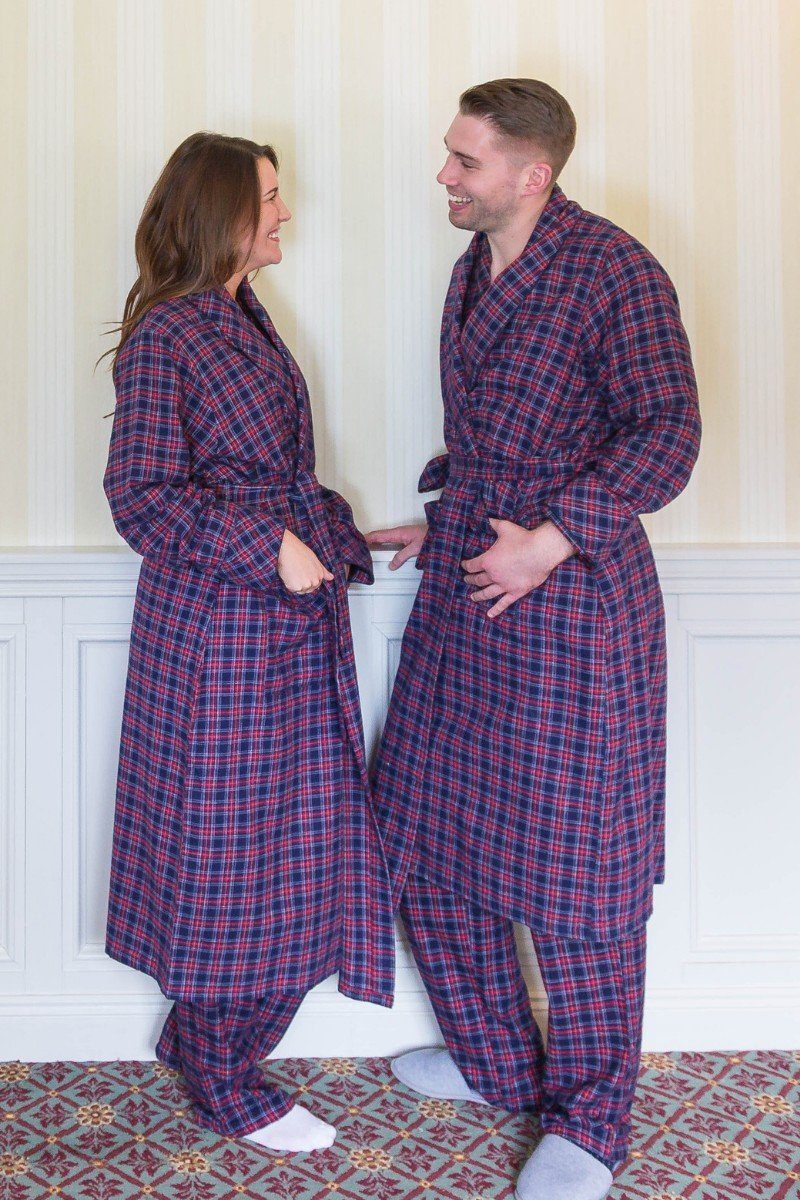 Nightrobe Pyjama Nightcap Gift Set - Purple Navy Tartan LV28 - Lee Valley Ireland - 1