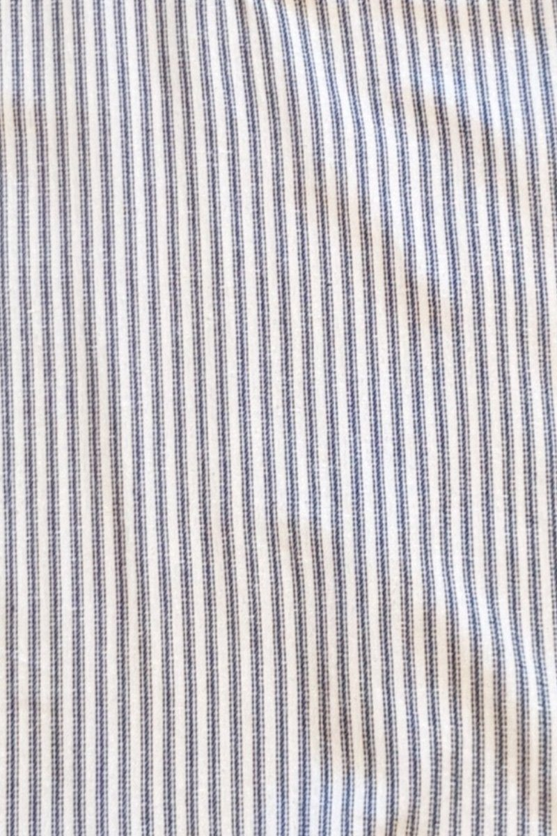 Grandfather Shirt Mens Flannel Navy Blue Stripe on Ivory (LV5)