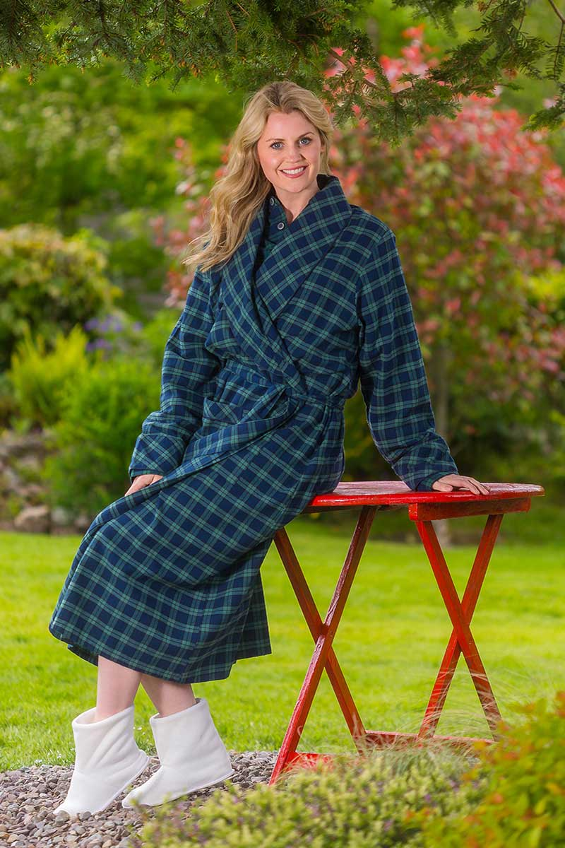 Nightrobe Ladies Cotton Flannelette - Green/Navy Tartan Blackwatch (LV6) - Lee Valley Ireland - 0