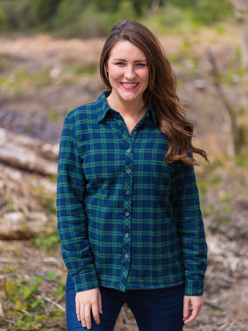 Collar Shirts Eskra Fleece Lined Flannel Ladies Green Tartan- Blackwatch (LV6)