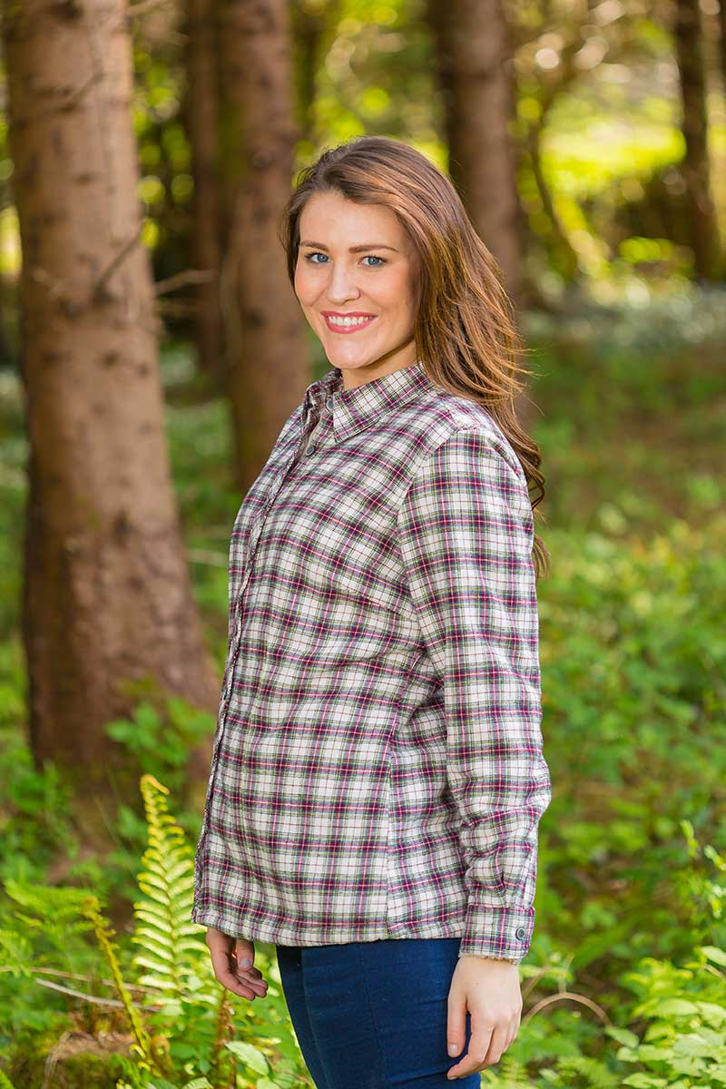 Collar Shirts Eskra Fleece Lined Flannel Ladies Maroon Check (LV7) - Lee Valley Ireland - 0