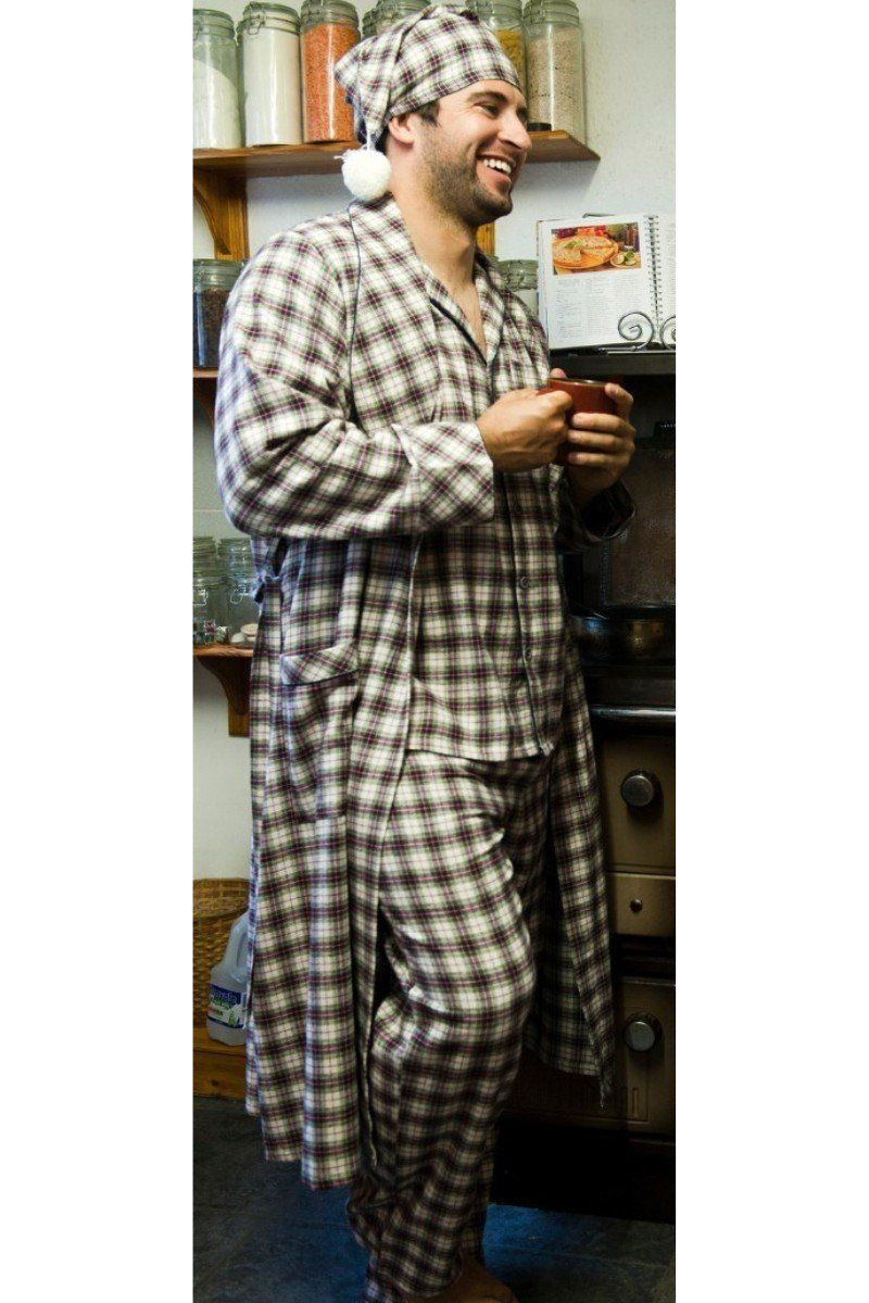 Nightrobe Pyjama Nightcap Gift Set - Maroon Check LV7 - Lee Valley Ireland - 1