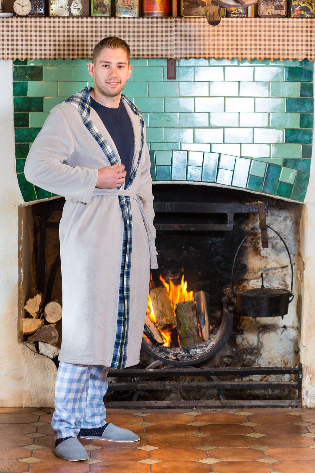 Nightrobe Mens Killarney Grey with contrast Douglas Blue Tartan Sleepwear Lee Valley Ireland