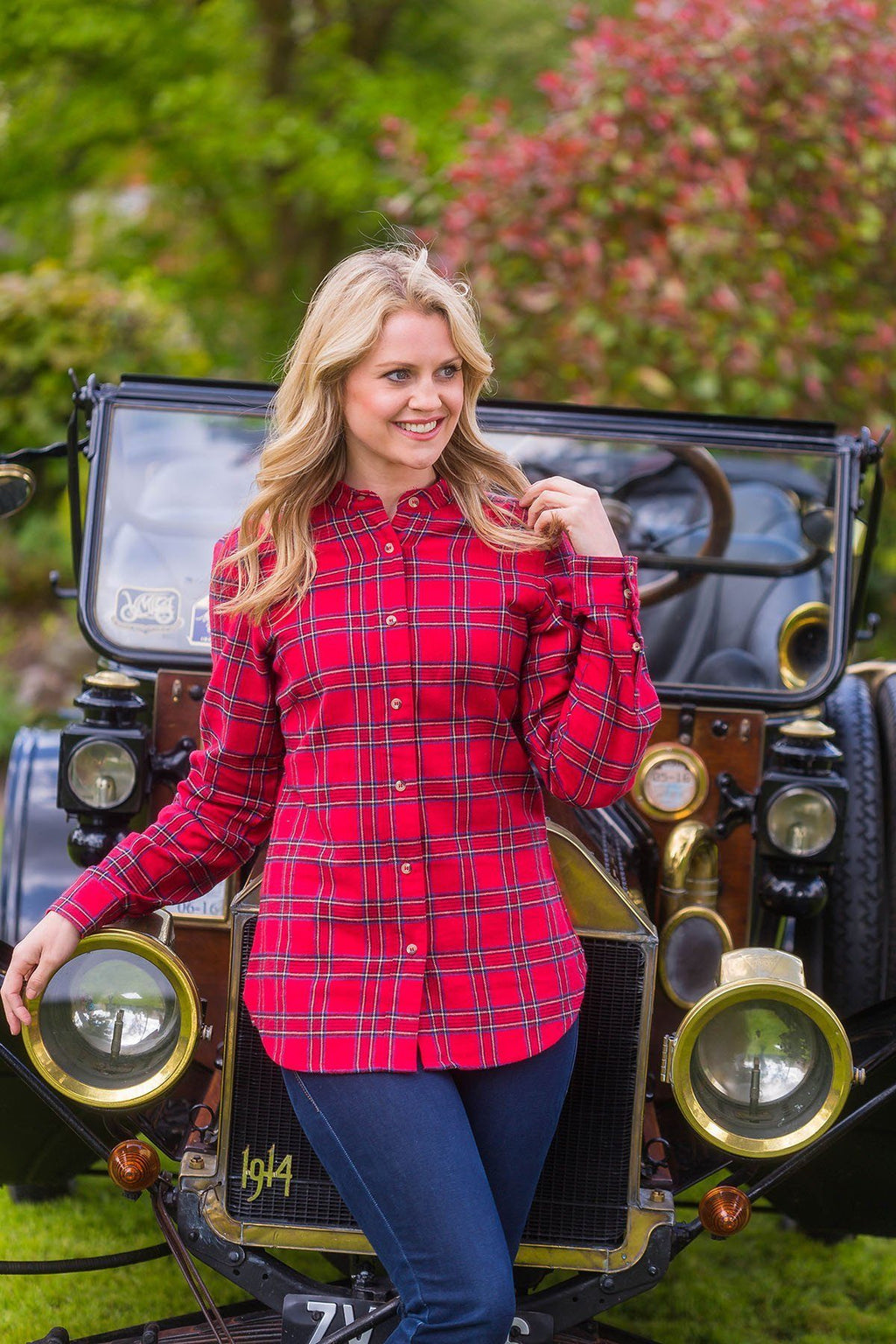Grandfather Shirt Ladies Flannel Red Tartan - Royal Stewart (LV27) Grandad Shirts Lee Valley Ireland
