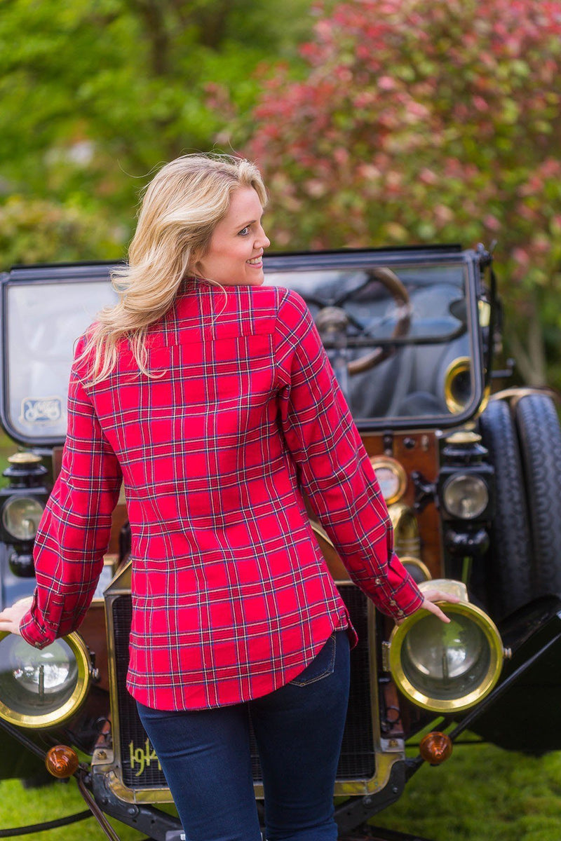 Grandfather Shirt Ladies Flannel Red Tartan - Royal Stewart (LV27) - Lee Valley Ireland - 2