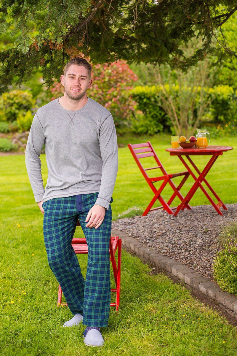 Lounge Pants Mens Cotton Flannel - Green Tartan Blackwatch (LV6) - Lee Valley Ireland - 1