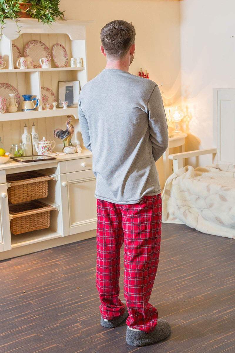 Lounge Pants Mens Cotton Flannel - Red Tartan Royal Stewart (LV27) - Lee Valley Ireland - 3