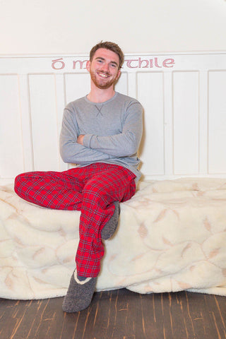 Lounge Pants Mens Cotton Flannel - Red Tartan Royal Stewart (LV27) - Lee Valley Ireland - 1