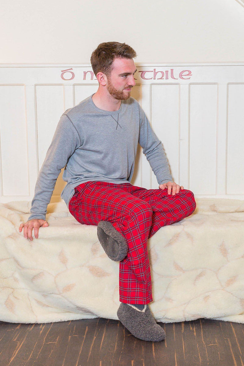 Lounge Pants Mens Cotton Flannel - Red Tartan Royal Stewart (LV27) - Lee Valley Ireland - 2