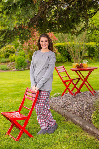 Lounge Pants Ladies Cotton Flannel - Red / White Check (LV4) - Lee Valley Ireland - 1